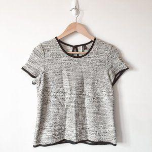 Topshop Black White Tweed Short Sleeve Blouse Sz 4